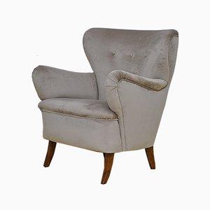 Swedish Velvet Wing Back Armchair, 1950s