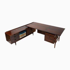 Vintage Danish Rosewood Desk with Sideboard by Arne Vodder for Sibast, 1950s