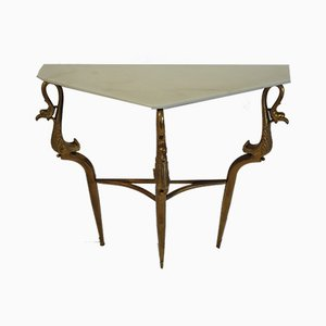 Brass Console Table with Rose Marble Top, 1960s