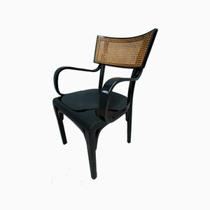 Art Nouveau Black Wood and Vienna Straw Chair, 1910s