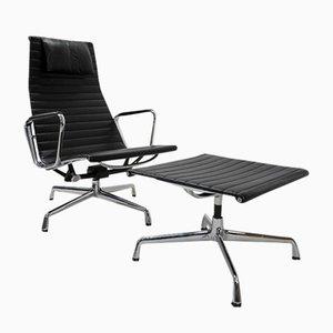 Eames Alu Group EA124 & EA125 Sessel & Fußhocker von Charles & Ray Eames für Vitra, 1980er, 2er Set