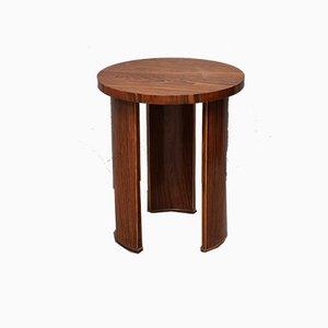 Mid-Century Italian Round Walnut Side Table, 1950s