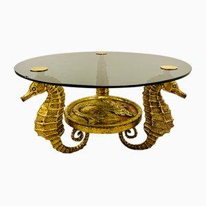 Tavolino da caffè dorato con quattro cavallucci marini di Sit Nomen Dominit Benedictum, anni '60