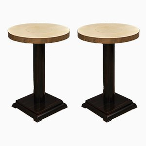 Art Deco Macassar Goat Skin and Brass Side Tables, 1930s, Set of 2