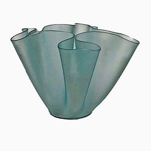 Italienische Cartoccio Vase aus satiniertem Glas von Pietro Chiesa für Fontana Arte, 1940er