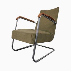 Stahlrohr Armlehnstuhl von Frits Schlegel für Fritz Hansen, 1930er