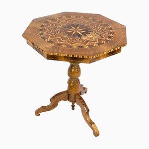 Table d'Appoint Biedermeier Antique en Marqueterie