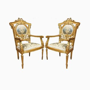 Gilded Armchairs with Silk Seat, 1800s, Set of 2