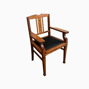 Antique Leather Desk Chair by Gustave Serrurier-Bovy