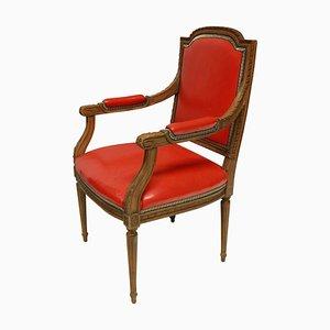 Louis Armlehnstuhl aus rotem Leder, 1930er