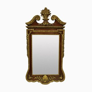 Large Antique George II Style Walnut and Parcel Gilt Mirror