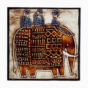 Schwedischer Wandteller aus Keramik in Elefanten-Optik von Lisa Larson für Gustavsberg, 1960er