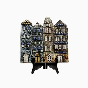 Swedish Ceramic Old Town Wall Plate by Lisa Larson for Gustavsberg, 1960s