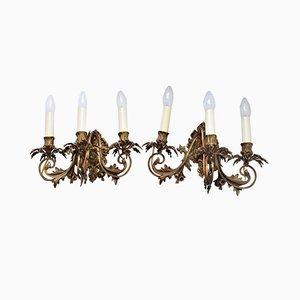 French Gilt Bronze Rococo Style Sconces, 1920s, Set of 2