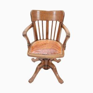 Antique French Art Nouveau Oak Swivel Desk Chair, 1900s