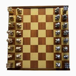 Italienisches Vintage Schachspiel in Gold & Silber von Ottaviani, 33er Set