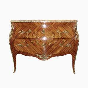 Louis XV Style Rosewood Chest of Drawers with Floral Inlay, 1950s