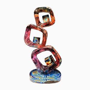 Sculpture Abstraite, Cristal de Verre de Murano et Calcédoine