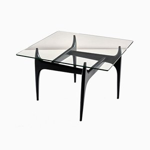 Belgian Black Lacquered Wood Coffee Table by Jos de Mey for Luxus, 1957