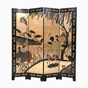 Four Panel Folding Screen with Gold Details