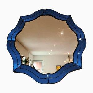 Blauer Venezianischer Mid-Century Spiegel