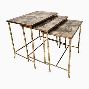 Tables Gigognes Mid-Century en Imitation Bambou de Maison Baguès, Set de 3