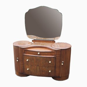 Large Walnut Dressing Table, 1940s