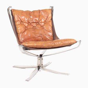 Patinierter Leder Falcon Chair von Sigurd Ressell für Vante Lenestolfabrikk, 1960er