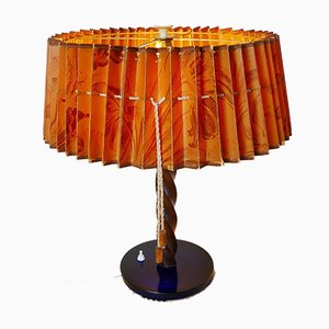Große Art Déco Tischlampe mit Lampenschirm aus Papier und Dunkelblauem Glasständer, 1920er
