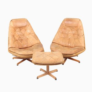 Danish Patinated Leather Lounge Chairs by Madsen & Schübel, 1960s, Set of 3