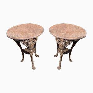 Viktorianische Britannia Gusseisen Pub Tische, 2er Set