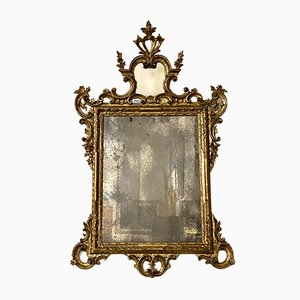 Antique Italian Mercury Mirror with Carved Wooden Frame & Gold Gilding, Early 1800s