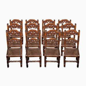 17th-Century Derbyshire Oak Chairs, Set of 12