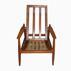 Teak High Back Lounge Chair or Deckchair, 1960s