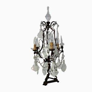 Italienische Tischlampe aus Messing & Kristallglas, 1950er
