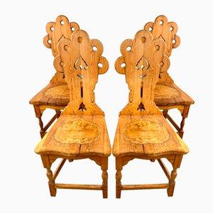 Antike Schwedische Holz Esszimmerstühle, 20. Jahrhundert, 4er Set