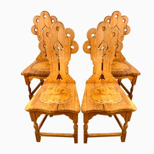 Antique Swedish Wooden Dining Chairs, 20th Century, Set of 4
