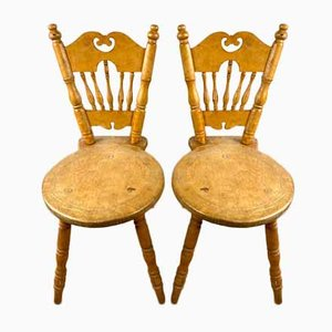 Antique Tripod Dining Chairs, 20th Century, Set of 2