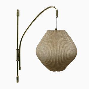Messing Wandlampe mit Leinenschirm, 1960er