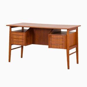 Teak Desk with Bar Cabinet by Gunnar Nielsen Tibergaard for Tibergaard, 1960s