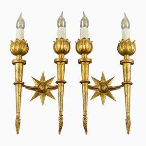 Applique in ferro dorato, anni '40, set di 2