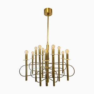Sciolari Brass and Chrome Chandelier, Italy, 1960s