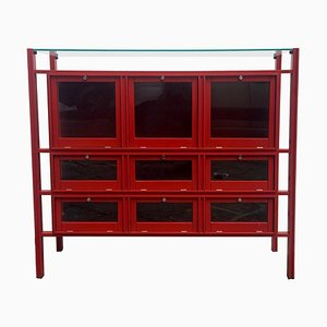 Red Lacquered Wood Cabinet by Carlo De Carli, Italy, 1950s