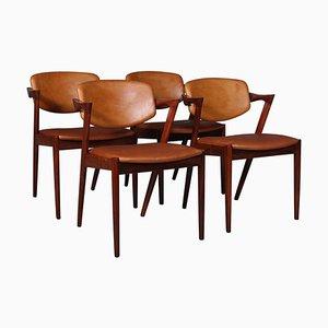 Modell 42 Palisander Esszimmerstühle von Kai Kristiansen, 4er Set