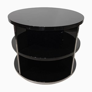 Art Deco Round Sofa Table in Black Lacquer and Metal, France, 1930s