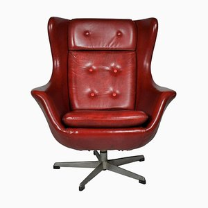 Leather Swivel Armchair from UP Závody, 1965