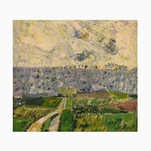 Poul Ekelund, Denmark, óleo sobre lienzo, paisaje modernista, 1966