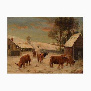 Artista británico del siglo XIX, óleo sobre lienzo, Scottish Highland Landlet, década de 1880