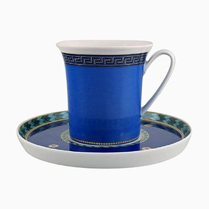 Le Roi Soleil Coffee Cup with Saucer In Porcelain by Gianni Versace for Rosenthal, Set of 2