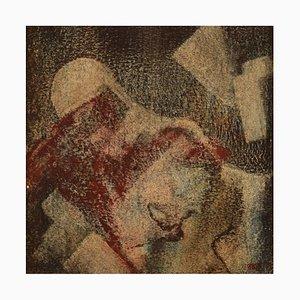 Artiste Scandinave, Crayon à Huile sur Papier, Composition Extra Celeste, Composition Abstraite